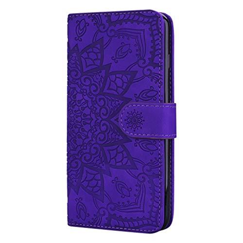 Beddouuk Honor 10 Lite Flip Hülle,Huawei P Smart 2019 Wallet Hülle,Blumen Muster Handyhülle PU Leder Schutzhülle Tasche Case Ledertasche Tasche im Bookstyle Lila