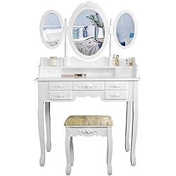 CCLIFE Coiffeuse - 7 tiroirs et 3 miroirs - Coiffeuse avec miroir et tabouret - Table de maquillage, Couleur:010C-Blanc