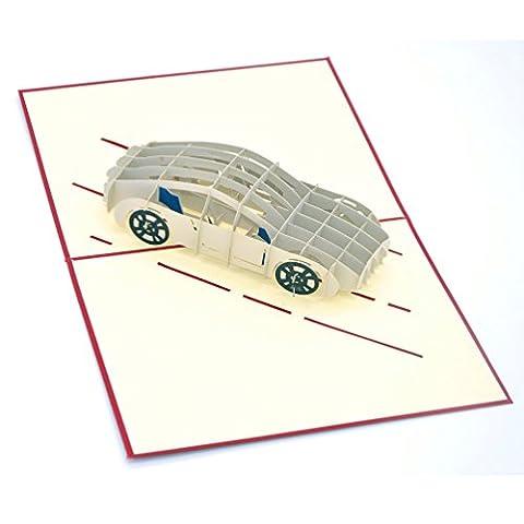 Medigy 3D POP UP Grußkarte Handgemacht Blume Korbp Auto Blanko-Karten Segen Papier Klappkarten Business Geschenkkarte Glückwunschkarten