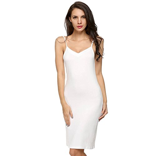 CRAVOG Sexy Fond De Robe Classique/Robe A Bretelles Fines Mi longue/Robe Sans Manches Décolleté Casual Blanc