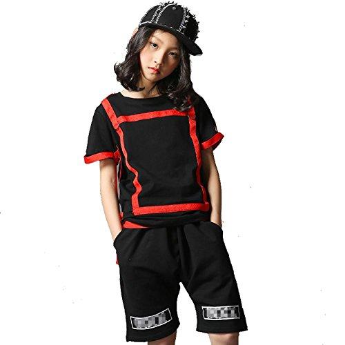 Wgwioo Hip-Hop Kinder Tanz Kostüme Klassik Jazz Lose Teen Jungen Mädchen Tragen Kinder Bühne Aufführungen Chor Gruppe Team, Girl, 130Cm