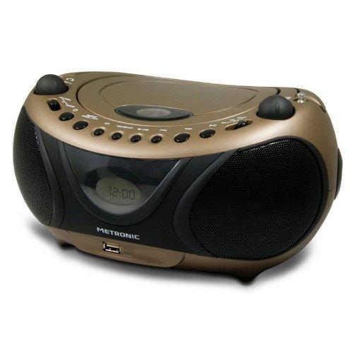 Metronic 477106 Radio / Lecteur CD / MP3 Portable Copper and Black avec Port USB - Noir et Cuivre