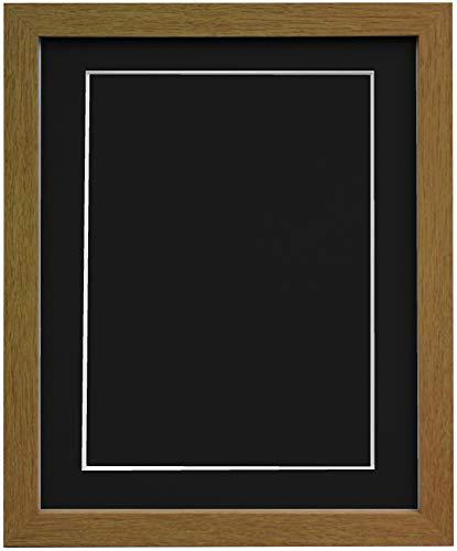 Frames By Post H7Bilderrahmen aus Eiche Breite 25mm 25mm breit mit Schwarz, Weiß, Elfenbein, Rosa und Hellblau Grau Passepartout und Rückwand, MDF, Black Mount and Backing Board, 6 x 4 Pic Size 4 x 3 (Pic Frames 4x6)