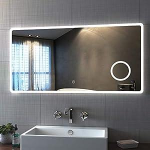 Bath-mann Badspiegel mit Beleuchtung 120x60cm LED Badezimmerspiegel Wandspiegel mit Touch-Schalter, Schminkspiegel mit 3-Fach Vergrößerung, Kaltweiß