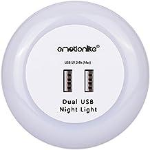 emotio nLite LED Luz nocturna con crepuscular Senor, lámpara nocturna, enchufe integrado nachtlicht, orientación de luz, luz de ambiente, 0.6W, 3colores (verde, azul, blanco) Intercambio Bar
