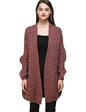 Vogueearth Fashion Mujer's Batwing Manga Knit Loose Thick Jersey Sudaderas Suéter Abrigo Chaqueta Open Cardigan