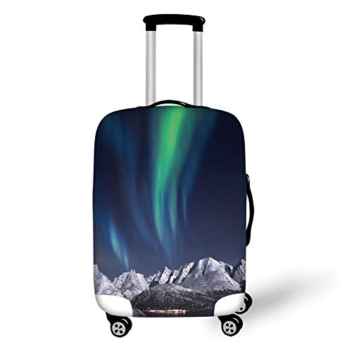 Travel Luggage Cover Suitcase Protector,Sky Decor,Northern Lights Aurora Over Fjords Mountain at Night Norway Solar Image Art,Green Dark Blue,for Travel