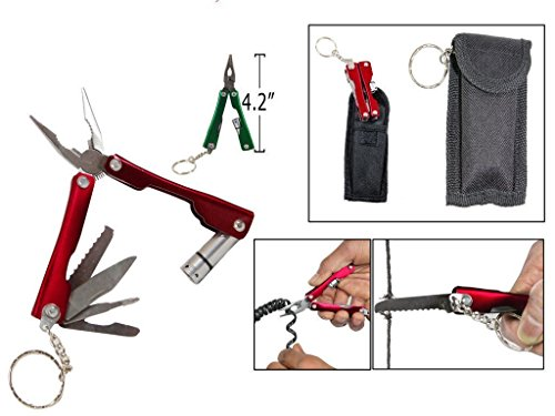 A & Y Traders 9 in 1 Micro Plier Tool Kit LED Flash Light Knife Blade Cutter Key Ring 31 21 11