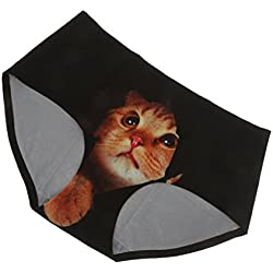 Prettyia Bragas de 3D Impresa de Gato Transparente Ropa Interior para Mujer Regalo de Novia Esposa - Negro, 28,35 a 40,94 pulgadas