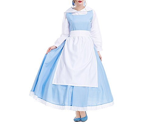 Damen Maid Kleid - Prinzessin Belle Kostüm Halloween Cosplay Party Outfit Feicua
