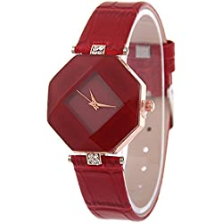 Contever® Women Fashion Rhombus Case Analog Quartz Watch with Rhinestone Decorative PU Leather Band Wrist Watch -- Red