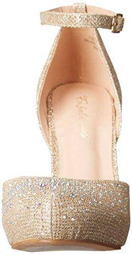 PleaserCovet 03 - Scarpe con cinturino alla caviglia donna Beige (Beige (Nude Glitter Mesh Fabric))
