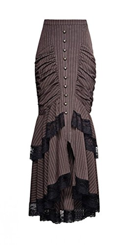 118 Kostüm Weiblich (Dark Dreams Gothic Steampunk Victorian Pinstripe Punk Rave Mermaid Skirt Rock braun M L XL,)