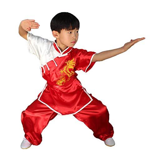 AMhuui Traditioneller chinesischer Drachen Kind Junge Kung Fu Outfit Tang Kostüm, Kampfkunst Uniform Kung Fu Trainingskleidung mit Gürtel - Kunstseide,Red,140cm