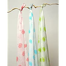 Tura Turi Muslin Baby Swaddler Indian Lotus Printed (White) - Pack of 3
