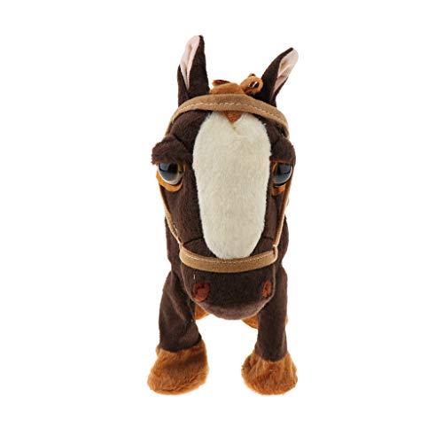 Fenteer Elektrisches Plüschtier Pferd, laufendes, & tanzende & singende Pony mit Leine, interaktives Musik Plüschspielzeug für Kinder Baby - Braun