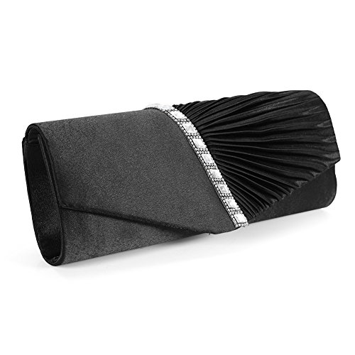 Frauen Pleated Flap Fashion Evening Cocktail Wedding Party Handbag mit Strass Dekoration, Shoulder Chain (Schwarz) (Purse Hochzeits-abend-clutch)