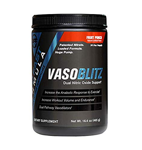 VASOBLITZ Nitric Oxide Pre Workout Supplement Powder with L-Citrulline, Betaine Anhydrous, Arginine NO3T, Calcium Lactate & Caffeine Free for Endurance & Muscle Growth (Fruit Punch)