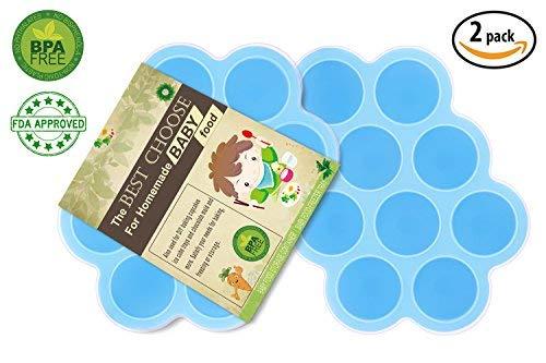Silikon Baby Food Gefrierschrank Tray Mit Deckel - Wiederverwendbare Mold Storage Container Hausgemachte Baby Food - Gemüse, Obst Purees, Brust Milch und Eiswürfel - BPA Frei & FDA Zugelassen