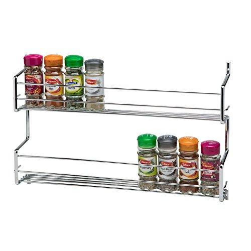 CKB Ltd® Gewürzregal aus Metall, wandmontiert-Verchromtes Regal für die Wand oder Schranktür, universelles Aufbewahrungsregal für die Küche, 2 TIER - HOLDS 20 JARS 20 Jar Spice Rack