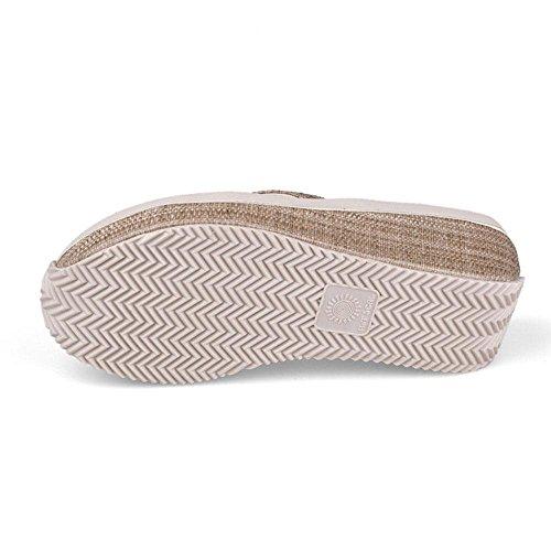 WANGXN Womens Flip Flops Sandales Pantalon antidérapant Slope à la mode Protection de l'environnement 5360 beige