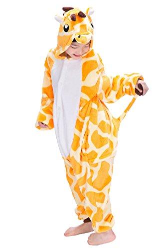 Kigurumi Pyjamas, Kinder Pyjamas Tier Einhorn Jumpsuit Nachtwäsche Unisex Cosplay Kostüm für Mädchen und Jungen Kinder cosplay Halloween (S:Height(35.4inch-39.4inch / 90cm-100cm), (Hund Kostüm Giraffe Tragen)