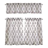 Mysky Home Fashion 3 Pieces Jacquard Rod Pocket Kitchen Sheer Tier Curtains and Valance Set, Brown by MYSKY HOME