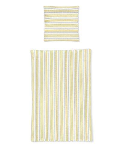 Irisette Baumwoll Seersucker Bettwäsche 2 teilig Bettbezug 135 x 200 cm Kopfkissenbezug 80 x 80 cm Calypso 460647-40 gelb