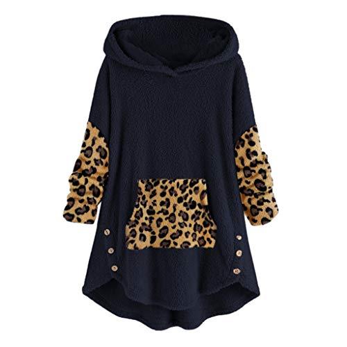 Orchid grass Damen Hoodie Kapuzenpullover Mode Leopard Patchwork Taschen Pullover Teddy-Fleece Jacke Langarm Oversize Mantel Tops Mit Kapuze Winter Warm Plüsch Mantel Hoodie Sweatshirt Outwear -