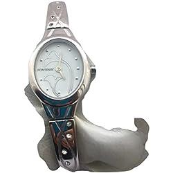 Fontenay Damen Oval Analog Quarz Blume Design Zifferblatt Armbanduhr mit 8Steinen.