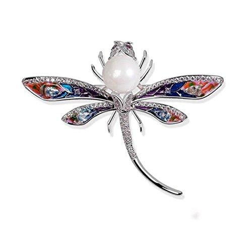luxurina Mujer Lovely circonita perla simulada esmalte Libélula Animal broche Pin