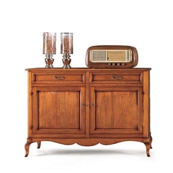 Credenza 2 porte 2 cassetti, stile classico, in legno massello e mdf - Mis. 145X50X115H