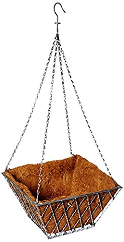 Panacea Products Double Diamond 14-Inch Square Hanging Basket, Antique Silver