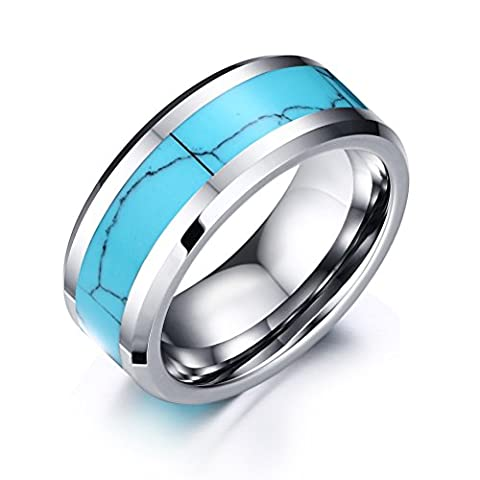 Vnox 8 le carbure de tungstène ring bleu turquoise haut côté aiguisé polonais incrustations d'alliance,silver base