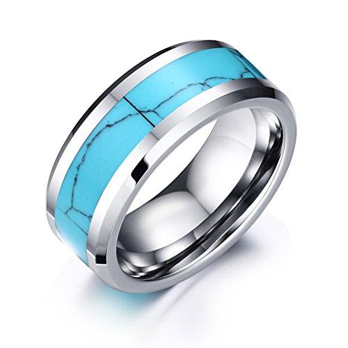 Vnox uomini 8 millimetri tungsteno anello nero e rosso in fibra di carbonio intarsio fidanzamento wedding band,base nera