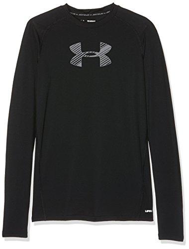 Under armour, armour ls, maglietta a maniche corte, bambino, nero (black/black/graphite 002), xl