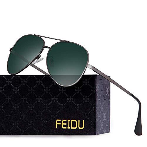 FEIDU Polarisierte Pilotenbrillen Männer Metallrahmen Frauen FD9009 (Grüner gun)