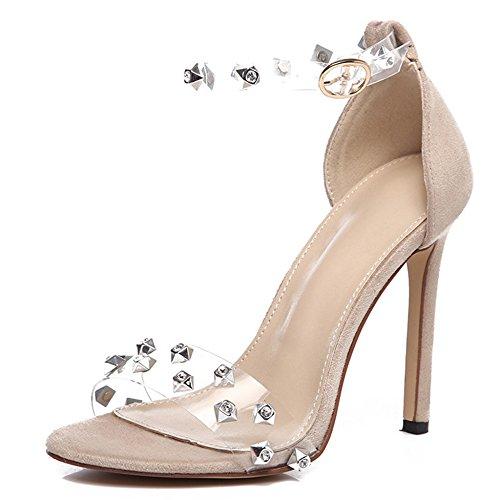 YR-R Open Toe Stollen Stiletto Large Size Damen Sandalen Ausgeschnitten Dorsay Strass Pumpen Für Damen Nachtclubs Bankette High Heels,Apricot-EU:39/UK:6.5