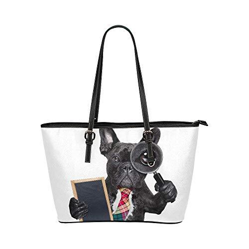 Bouledogue français drôlegeste mignon grand cuir souple poignée supérieure main sacs fourre-tout sacs à main causales fermeture à glissière épaule Shopping de bagages pour le travail de femmes filles