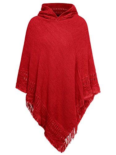 Slivexy Damen Bohemian Asymmetrisch Umhang Mit Kapuze Poncho Rot One Size (Rotes Kapuzen Cape)