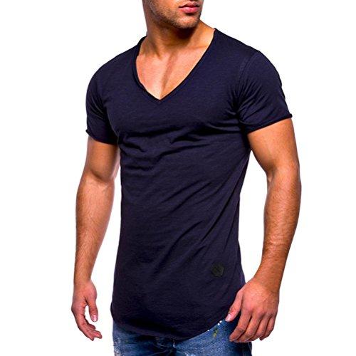 Zarupeng Herren Männer Einfarbig T-Shirt, Slim Fit Shirts V-Ausschnitt Kurzarm Casual Lose Freizeitshirt Tops Shaped Long Tee (XL, Marine)
