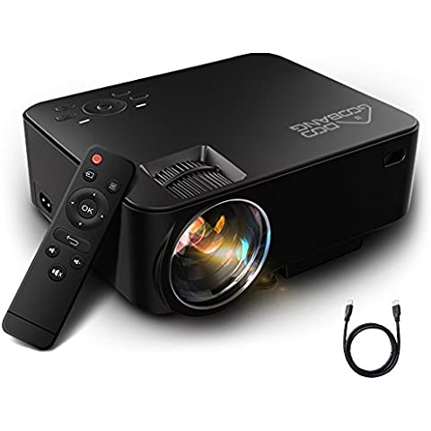 Mini Proiettore Portatile 1080P HD, GooBang Doo T20 Home Cinema LED Video Proiettore 1500 Lumens 800*480 Risoluzione per PC Laptop SD PS4 XBOX USB Disk e Android TV Box ecc, Nero
