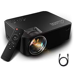 Mini Proiettore Portatile 1080P HD, GooBang Doo T20 Home Cinema LED Video Proiettore 1500 Lumens 800*480 Risoluzione per PC Laptop SD PS4 XBOX USB Disk e Android TV Box ecc, Nero