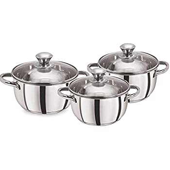 Pristine Tri Ply Induction Base Cooking Essential St. Steel Casserole Set, 3Pcs, Silver