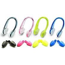 Zooshine Set de 4 tapones pinza de nariz para natación silicona Kits para adultos, mujer hombre, Nose Clip + Ear Plugs
