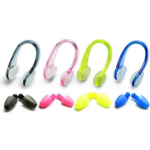 Zooshine 4 Sets Weiche Silikon Wasserdichte Schwimmen Ohrstöpsel und Nase Clip für Erwachsene Jugend (Nase Clip + Ohrstöpsel)