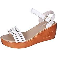Luckycat Sandalias de Vestir Tacón Verano Malla Calzado de Hueco Cómodo Correa de Hebilla Moda Mujer