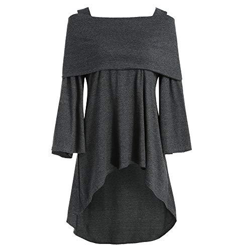 Juliyues Damen Pullover Sweatshirt,Frauen Mode Schulterfrei Tunika Sweatshirts Asymmetrische Lange T-Shirt Langarm Tops Bluse
