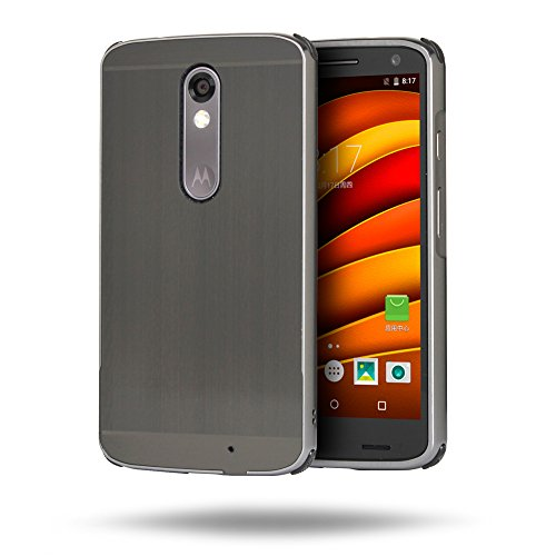 Motorola Moto X Force Hülle, Motorola Moto X Force Metall Hülle, Huphant Luxus 2 in 1 Premium Aluminium Hülle(Luxury Metal Frame Bumper+ PC Plastic Back Cover)[Brushed Metall Serie]Stoßfest Hülle Metall Schutzhülle Aluminium Hülle 2 in 1 Slim Case Hardcase für Motorola Moto X Force(5,4 Zoll) + 1X Schwarzer Stylus Touchscreen Pen - Black