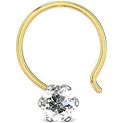 Candere By Kalyan Jewellers 18K (750) Yellow Gold and Diamond Sowmya Nose Pin